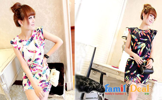 Đầm họa tiết lông ngỗng Quảng Châu NHOMMUA HOTDEAL