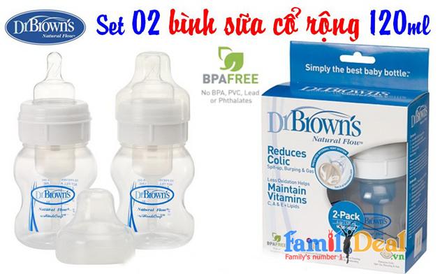 Set 2 Bình Sữa Dr Brown's Cổ Rộng 4oz