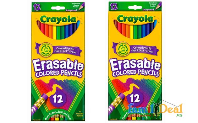 Bút chì 12 màu có thể tẩy được Crayola