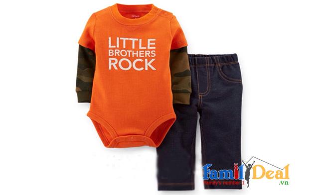 Bộ áo dài tay kèm quần dài cho bé