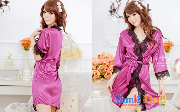 Đầm ngủ phi lụa viền ren và Quần chip