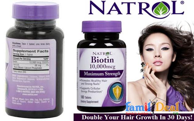 Hỗ trợ mọc tóc Natrol Biotin 10,000mcg'
