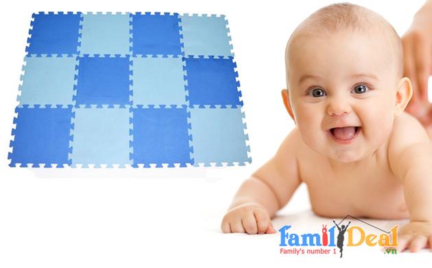 Thảm trẻ em 12 miếng không hình màu Xanh