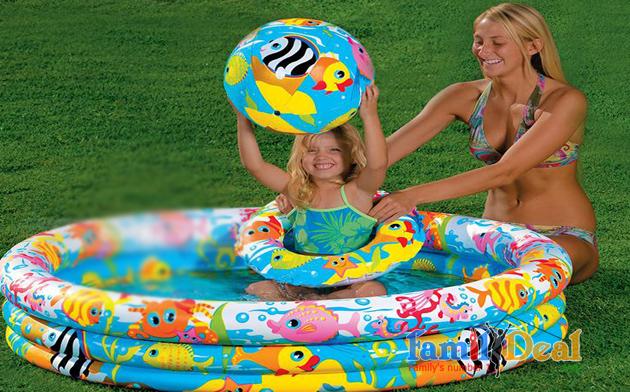 Bể bơi tròn 3 tầng Intex kèm phao và bóng NHOMMUA HOTDEAL