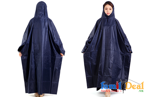 Áo mưa cánh dơi 1 đầu vải dù màu xanh đen NHOMMUA HOTDEAL