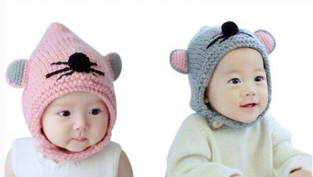 Mũ len chuột con đáng yêu