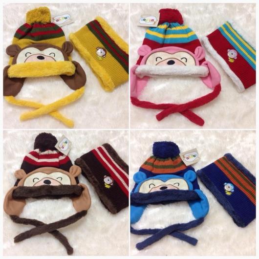 Mũ len và khăn choàng con khỉ cho bé