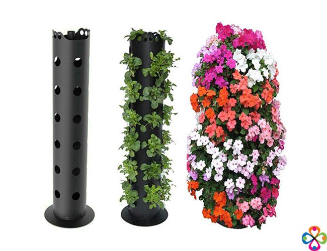 Combo Tháp Trồng Cây và 2 chậu hoa tròn