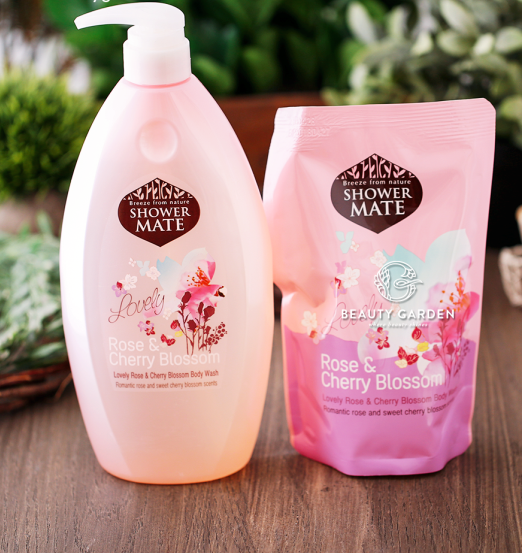 Combo Sữa Tắm Shower Mate Lovely Rose & Cherry Blossom 950ml + 350ml