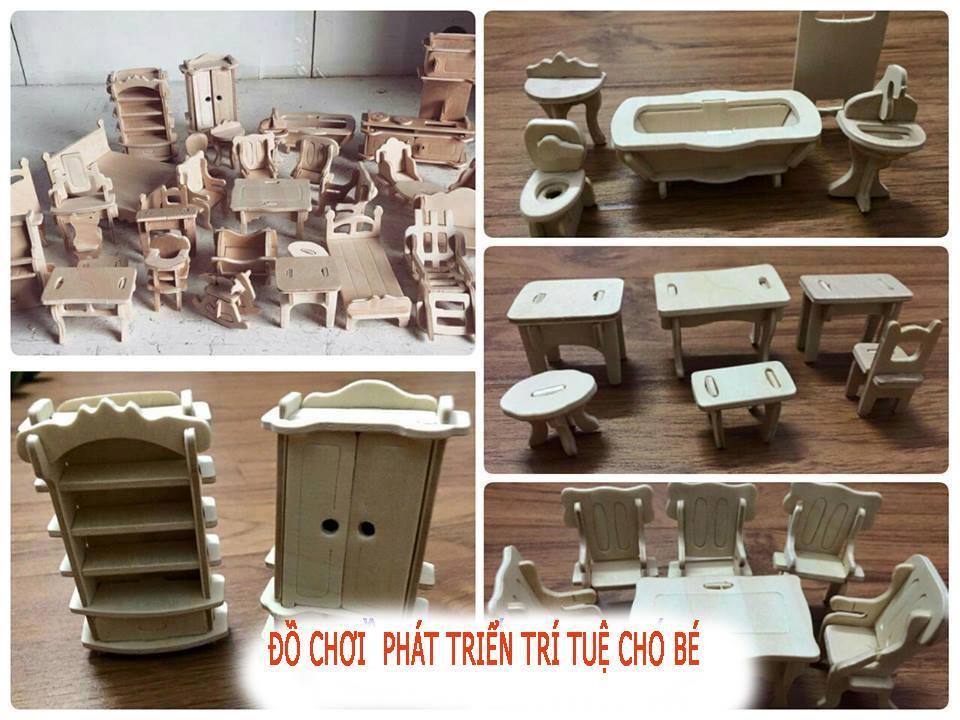 Bộ ghép hình 3D bằng gỗ nội thất thu nhỏ Woodcraft