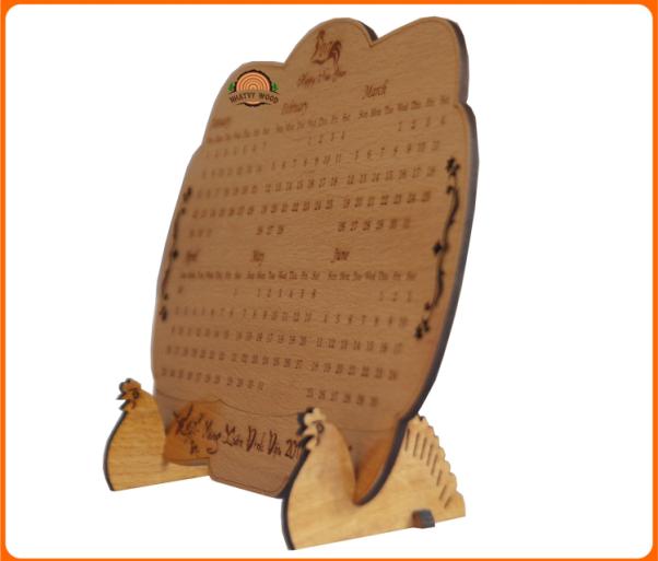 Lịch gỗ để bàn 1 tấm