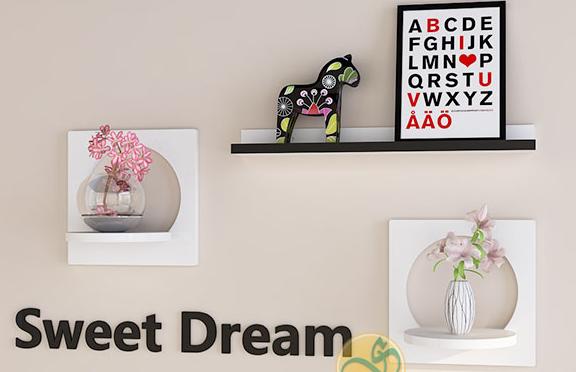 Bộ 3 kệ treo tường bán nguyệt Sweet Dream
