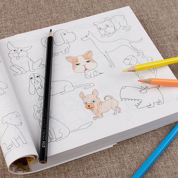 Sách tô màu 5000 hình kèm 12 bút màu cho bé