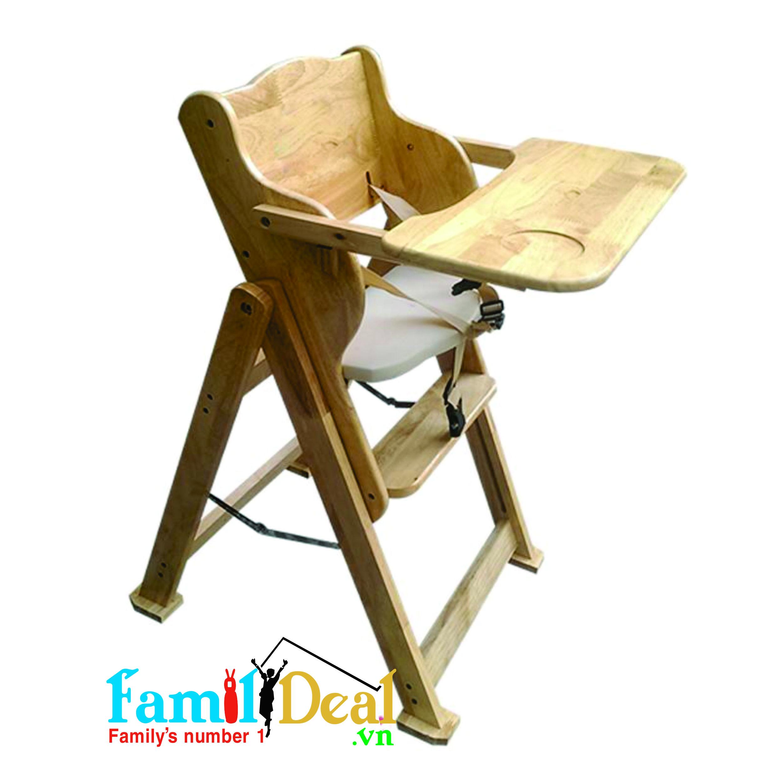 Ghế ăn bột bằng gỗ điều chỉnh độ cao